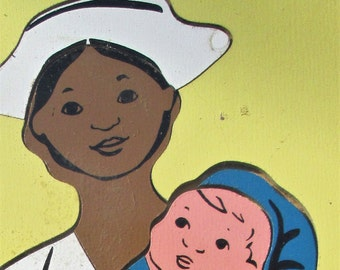 Maternity NURSE with BABY wood jigsaw puzzle - vintage toy game - Judy Company - baby shower - nursery decor -