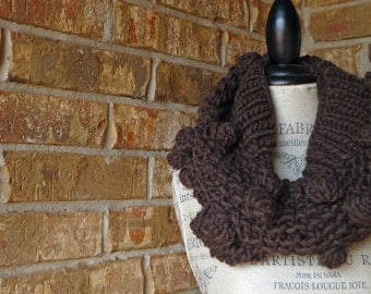 ECO FRIENDLY 100% ITALIAN wool cowl, chocolate brown, lighweight, bauble knit, infinity scarf
