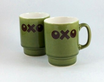 OXO coffee mugs, tea mugs, soup mugs. Stackable. Vintage green ceramic with brown logo. For home use or coffee house, café, restaurant.