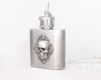 Skull Silver Flask Necklace--Hamlet's Yorick silver necklace.women flask Christmas gift, Flask For Women Stainless steel flask