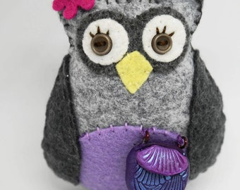 Handcrafted wool Owl, Love to shop Owl Ornament,  Wool Felt Owl, Owl Car Charm, Whimsical Owl, Mothers Day Gift, Hand Stitched Owl