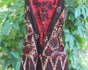 Little Girls Cotton Dress In Bali Batik With Fringe, Boho Summer Dress With Fringe, 2/3 - Sasha FREE Worldwide Shipping