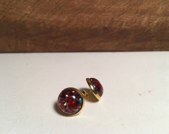 Red, blue and gold Glitter Resin Stud Earring- 12mm