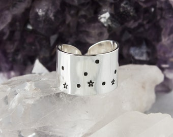 Virgo Zodiac Constellation Ring. Zodiac jewelry. Virgo birthday gift ring. Zodiac ring. Sterling Silver or Aluminum Constellation ring RTS