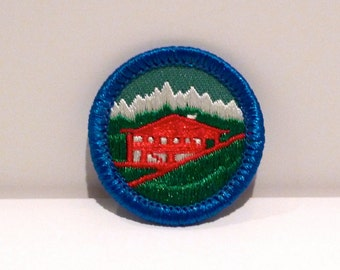 Mountain Lodge Patch Camping Landscape Patch Girl Scout Embroidered patch Merit Badge 90s Snow Capped Peaks Cabin Outdoors National Park