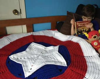 Weighted Crochet Blanket Captain America Inspired American Hero Twin Sized Crocheted Blanket