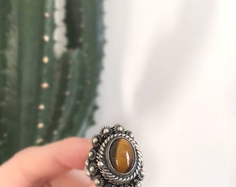 Silver Poison Ring //  Tiger Eye Ring // Handcrafted // Vintage Mexican Ring // Gemstone Ring // Adjustable Ring