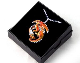 Flame Guardian Pewter Dragon Pendant