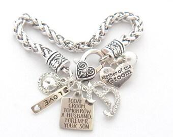 MOTHER of the Groom Bracelet,  Mother of Groom Gift, Today a Groom Tomorrow a Husband, Forever Son Charm Bracelet, Antique Wedding Bracelet