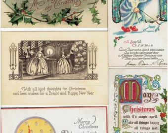 Vintage Christmas Postcards Dogs Children All Old Some Unused