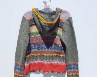 Colorful Crochet  Knit rAiNbOw Hoodie Cardigan Folk Sweater