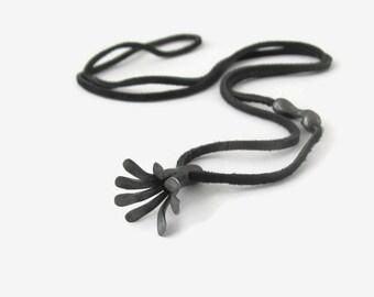 Oxidized Black Silver Necklace, Flower Pendant, Black Bloom Jewelry