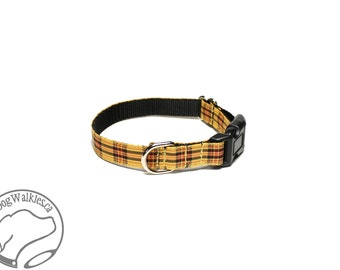 "MacLeod Clan Tartan Small Dog Collar - Thin Dog Collar - 1/2"" (12mm) Wide - Gold Plaid - Golden Tartan - Choice of style and size"
