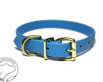 "NEW- Caribbean Blue - 3/4"" (19mm) Wide  - Biothane Dog Collar - Leather Look and Feel - Custom Size - Stainless  or Brass Hardware"