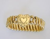Victorian Revival 1940s Sweetheart L.S. Mayer Engraved Expansion Bracelet World War II Antique Jewelry