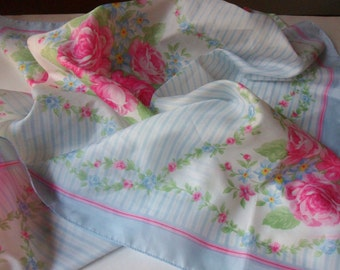 Pink Rose & Blue Forget Me Knot Scarf, Large Blue Striped Avon Scarf
