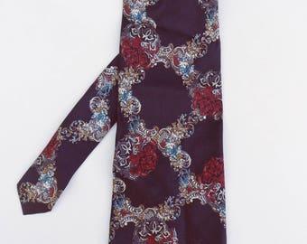 Adolfo Extra Long NeckTie, Imported Silk Tie, Black and Red Wide Tie