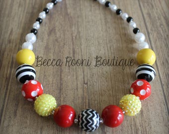 Fabulous Mickey Mouse inspried Chunky Bubblegum Necklace, Bubblegum Necklace, children's bubblegum necklace, Mickey Mouse bubblegum necklace