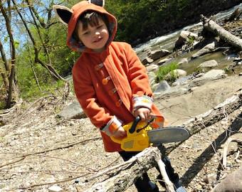 Childrens Fox Coat, Boys or Girls Winter Coat, Wild & Woolly Red Fox Jacket, Fleece Jacket for Kids