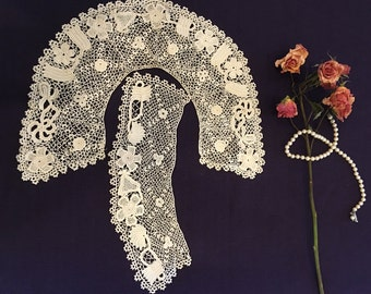 Victorian Vintage Off White Irish LACE COLLAR and one Cuff. Handmade Off White IRISH Lace Collar and Cuff.