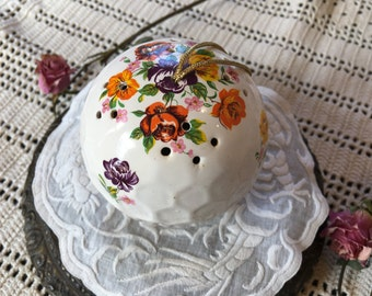 Vintage SACHET Pomander BALL with Flowers. Plastic Cork Closure for Sachet POMANDER Ball to Hold Fragrance.
