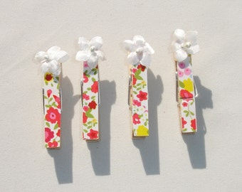 Mini Pink Floral Decorative Clothes Pins - Set of 4