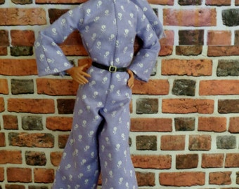Flower Vintage Print Retro Jumpsuit w/ Matching Scarf for Barbie or similar fashion doll