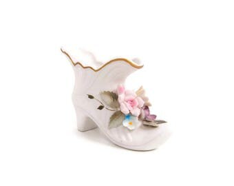 Vintage Porcelain Shoe Made in Japan Applied Floral Bisque Boot Hand Painted Colorful Color Shoe