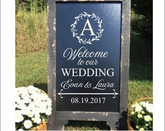Welcome Wedding Decal Twig Wreath Rustic Wedding Decal Elegant Wedding Decor Personalized Welcome Decal for Chalkboard DIY