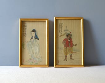 Two Vintage Chinese Silk Paintings - Signed