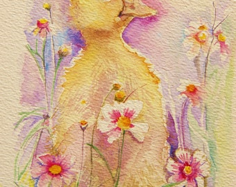 Duckling painting - original watercolor small painting