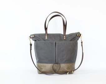 Grey Waxed Canvas and Grey Leather Diaper Bag / work travel tote  -  LEWIS - Waterproof Waxed CANVAS top and LEATHER base carry all