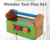 Personalized Play Set, Wooden Tool Box, Stephen Joseph Tool Set, Tool Box for Kids,