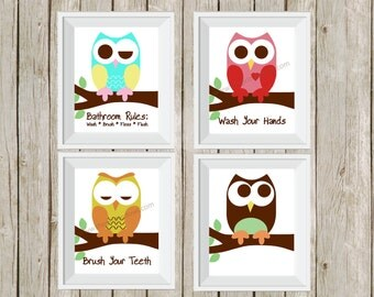 owl bathroom decor, kid's bathroom art, bathroom rules, owl prints, children's bathroom, owl decor, wall art,  bathroom prints, 5x7 prints