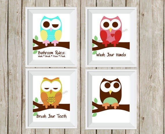 Owl Bathroom Decor Kid 39 S Bathroom Art Bathroom Rules