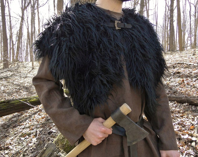 Viking Fur Mantle, Capelet, Medieval, Barbarian - Deluxe Extra Large w/ Celtic Buckle - Faux Fur Choose Color