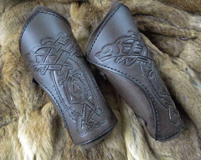 Celtic Wolf Leather Bracers - Viking Arm Guards, Medieval, Men's Renaissance Armor - Deluxe Set