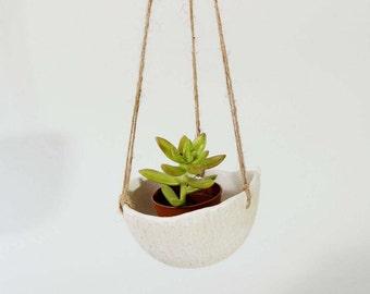 White Ceramic Planter Hanging Planter ~ Textural Ceramic Planter Ceramic Hanging Planter ~ Modern Planter White Plant Pot Pottery Planter