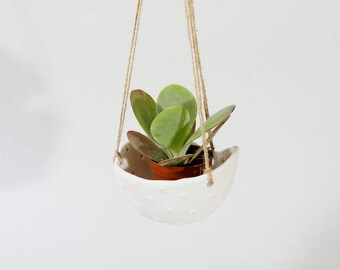 White Ceramic Planter Hanging Planter Ceramic Plant Pot ~ White Planter Sea Urchin Plant Pots ~ Hanging Cactus Planter Organic Pottery UK