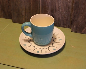 Ceramic Blue Mugs Two Coffee Tea Mid Century Cups Made in USA Housewares Vintage 1950s 50s (A)