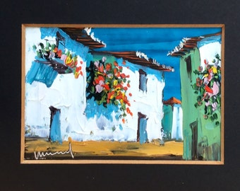 1960s Painting Mediterranean Street Houses Landscape Oil Original Art Wall Hanging Home Decor