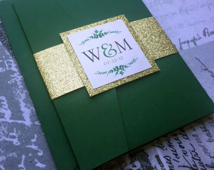 Wedding Invitations, Suite Pocket. Forest Green and Glitter Gold with belly band. Elegant, fancy and chic wedding decor.