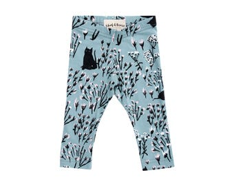 Cats in Grass Leggings on Sage - Printed Leggings - Organic - Kid's Leggings - Baby Gift - Eco Fashion - Slow Fashion - Thief&Bandit®
