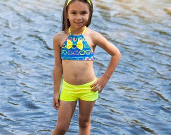 Swimsuit - Two Piece Swimsuit - Girls Bathing Suit - Rainbow Swimsuit - Halter Swimsuit - Yellow Swimsuit - Toddler Swimsuit - Blue Swimsuit