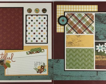Pre-made Fall Scrapbook Page Layout 2 pages 12x12 Thanksgiving Autumn Grateful Leaves
