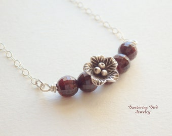 Red Garnet Bar Necklace with January Birthstone and Thai Hill Tribe Silver Flower Pendant, Sterling Silver Layering Necklace