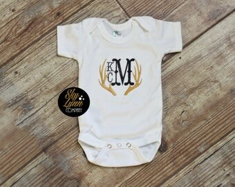 Rustic Monogram Antlers  Embroidered Shirt or Bodysuit