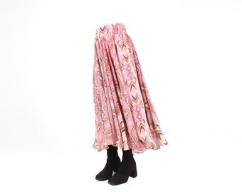 Gorgeous 90s Pastel Patterned Printed Indian Silk Full High Waist Skirt