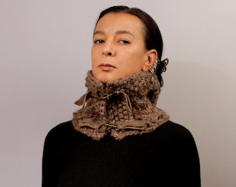 Infinity Scarf, Brown Knit Cowl, Wool Chunky Scarf, Mens Cowl Scarf, Cable Knit, Gift For Him, Leather&Metal Clips Detail Winter Accessories