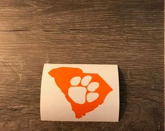 South Carolina Clemson Paw Print Vinyl Decal, Yeti Decal, Laptop Decal, Cell Phone Sticker, Car Decal